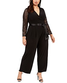 Plus Size Belted Statement-Sleeve Jumpsuit