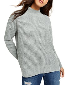 Juniors' Mock-Neck Chenille Sweater