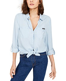 Tencel Split-Back Button-Down Shirt
