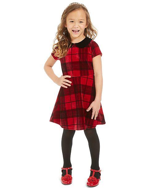 Epic Threads Toddler Girls Collared Velvet Plaid Dress, Created For Macy's