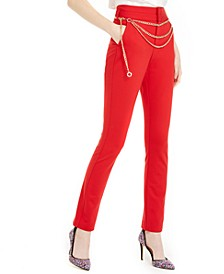 INC Chain-Belted Straight-Leg Pants, Created For Macy's
