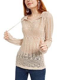 Juniors' Pointelle Hoodie Sweater