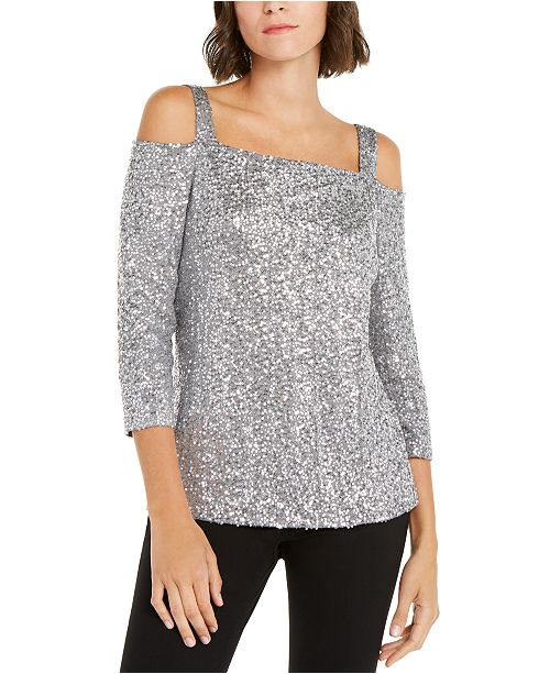 INC International Concepts INC Petite Sequin Cold-Shoulder Top, Created for Macy's