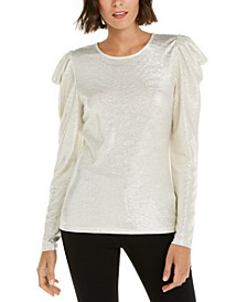 INC Puff-Sleeve Shine Top, Created for Macy's