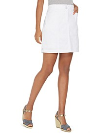 Petite Solid Double-Button Knit Skort, Created for Macy's