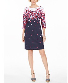 Petite Chloe Floral-Print Boat-Neck Dress, Created for Macy's