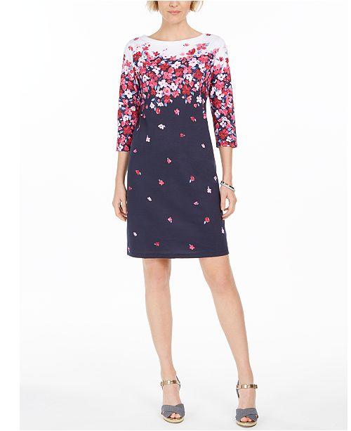 Karen Scott Floral-Print Shift Dress, Created For Macy's
