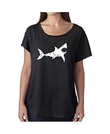 Women's Dolman Cut Word Art Shirt - Bite Me