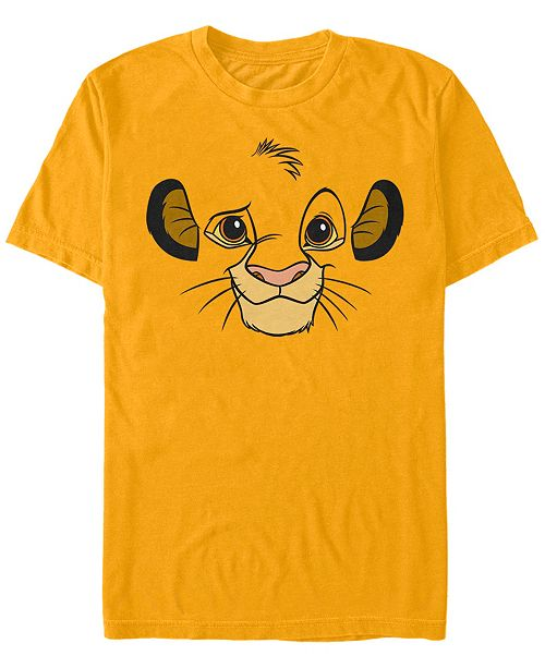 Fifth Sun Disney Men's Lion King Simba Big Face Costume Short Sleeve T-Shirt