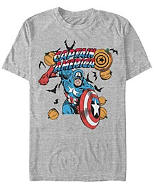 Marvel Men's Classic Captain America Halloween Pumpkins Short Sleeve T-Shirt