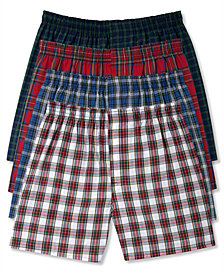 Hanes Men's Platinum FreshIQ™ Underwear, Plaid Woven Boxer 4 Pack