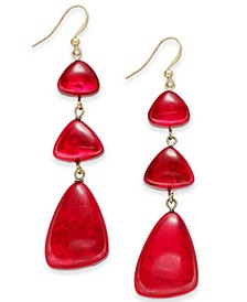 Gold-Tone Resin Triple Drop Earrings, Created for Macy's