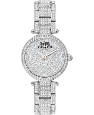 코치 여성 손목 시계 COACH Womens Park Pave Stainless Steel Bracelet Watch 26mm,Silver