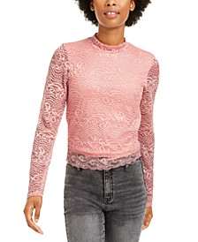 Juniors' Lace Mock-Neck Top