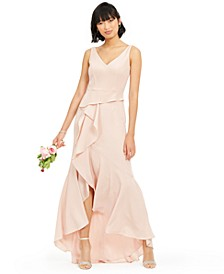 Crepe Cascade Gown