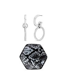 "Medium Silver-Tone Hoop Earring 1-1/4"" and Hexagon Trinket Tray Gift Set"