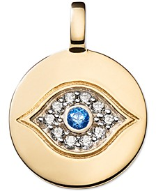 Swarovski Zirconia Evil Eye Charm Pendant in 14k Gold-Plated Sterling Silver