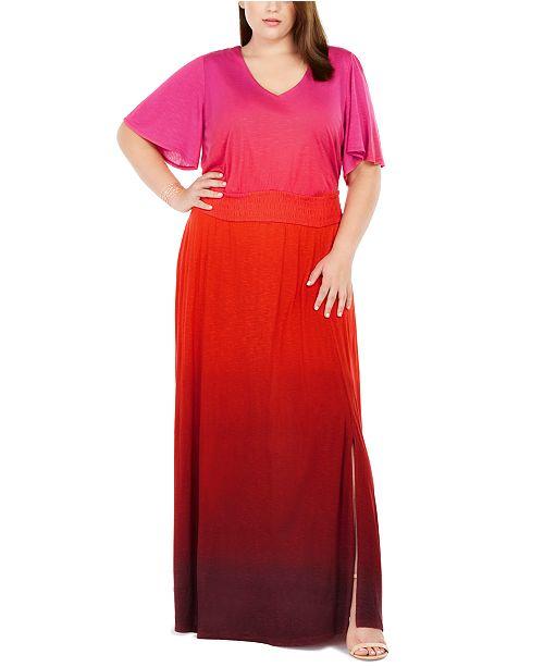 INC International Concepts INC Plus Size Ombré Flutter-Sleeve Maxi Dress, Created For Macy's