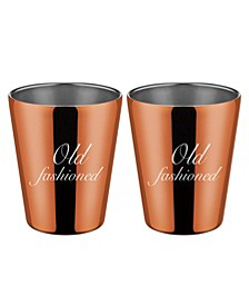"Copper ""Old Fashioned"" Double Old Fashion Cups - Set of 2"