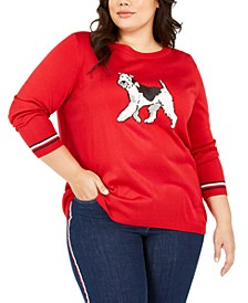 Plus Size Knit Dog Graphic Sweater, Created for Macy's