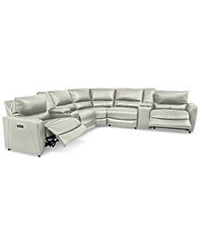 Danvors 7-Pc. Leather Sectional Sofa with 2 Power Recliners, Power Headrests, 2 Consoles, and USB Power Outlet