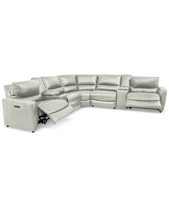 Furniture Danvors 7-Pc. Leather Sectional Sofa with 2 Power Recliners, Power Headrests, 2 Consoles, and USB Power Outlet
