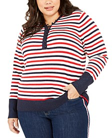 Plus Size Metallic Striped Button-Up Top