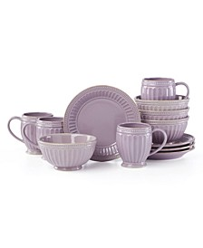 French Perle Groove Violet 12 Piece Dessert Set, Service for 4