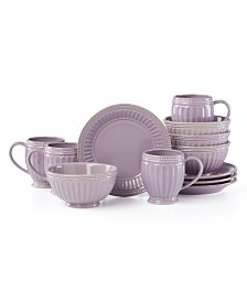Lenox French Perle Groove Violet 12 Piece Dinnerware Set, Service for 4