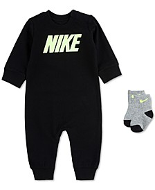 Baby Boys 2-Pc. French Terry Coverall & Socks Set