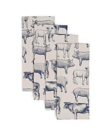 Living Farm Animals Kitchen Towel Set, Set of 4