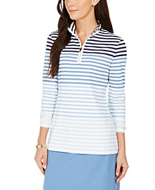 Striped Half-Zip Top, Created for Macy's