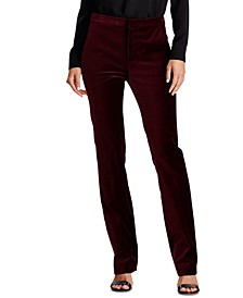 Petite Stretch Velvet Straight Pants, Created for Macy's