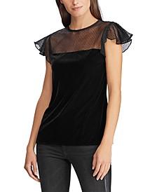 Petite Mesh-Yoke Velvet Shirt