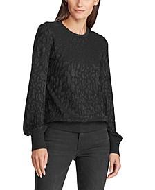 Petite Shimmer Leopard-Print Sweater