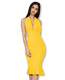 Backless Fishtail Midi Dress