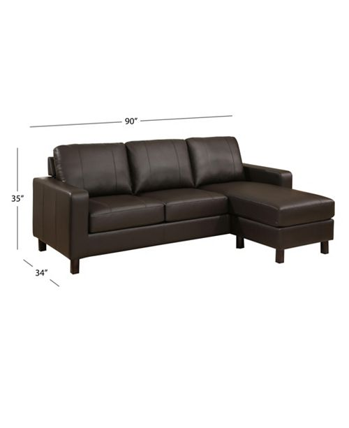 Kate Leather Sectional Sofa & Ottoman Set