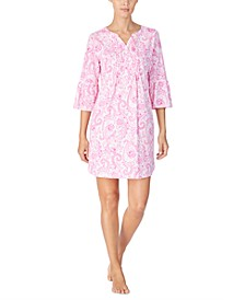 Women's Cotton Printed Flounce Sleeve Nightgown