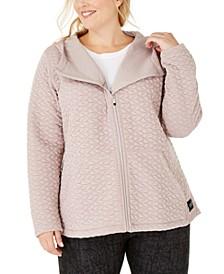 Plus Size Asymmetric-Neck Hooded Zip-Front Jacket