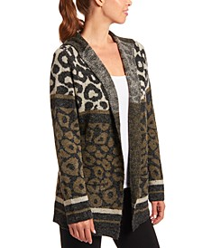 Animal-Print Hooded Cardigan