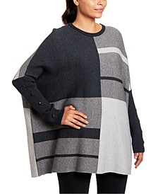 Colorblocked Button-Trim Poncho