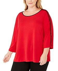 Plus Size Contrast-Trim 3/4-Sleeve Top
