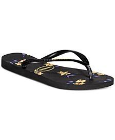 Women's Slim Floral Flip-Flop Sandals