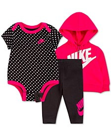 Baby Girls 3-Pc. Zip-Up Hoodie, Printed Bodysuit & Leggings Set