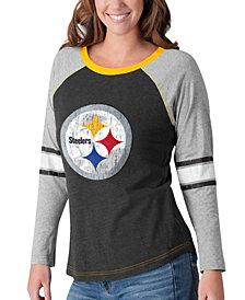 G-III Sports Women's Pittsburgh Steelers Long Sleeve Top Pick T-Shirt