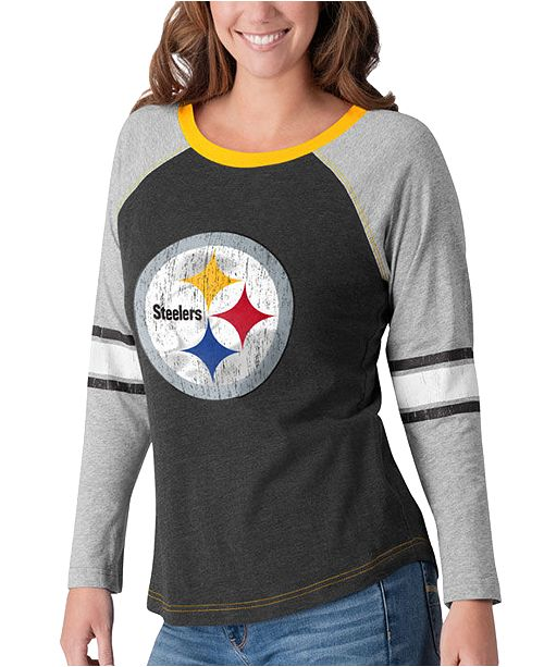 G-III Sports Women's Pittsburgh Steelers Long Sleeve Top Pick T-Shirt