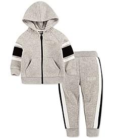 Baby Boys 2-Pc. Varsity Stripe Fleece Zip Hoodie & Pants Set