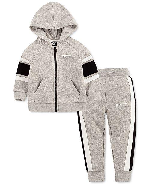 Nike Baby Boys 2-Pc. Varsity Stripe Fleece Zip Hoodie & Pants Set