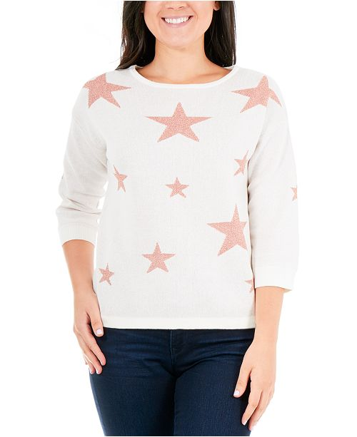 NY Collection Petite Glitter Star Sweater