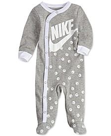 Baby Girls Smiley-Dot Cotton Footed Coverall